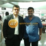 Ajith with a Fan at Bangalore Airport - Fans Share