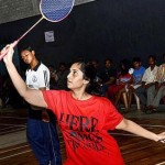 Marquee player: Shalini in action during the women doubles at the senior State ranking badminton tournament in Tiruchi on Friday.—PHOTO:R.M.RAJARATHIAM.