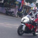 Ajith driving his New BMW Bike in East Coast Road.
