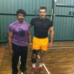 Pic Info: Ajith with his Gym Trainer Siva.